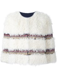 Red Valentino Striped Cropped Jacket White
