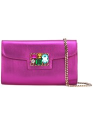 Casadei Gem Embellished Clutch Bag Women Crystal Kid Leather One Size Pink Purple