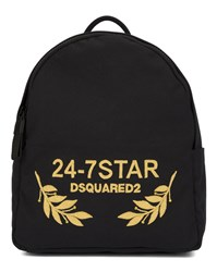 Dsquared Black 24 7 Star Canvas Embroidered Back Pack