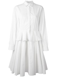 Givenchy Peplum Waist Flared Shirt Dress White