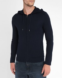 Ikks Navy Hooded Cardigan With Padded Shoulders