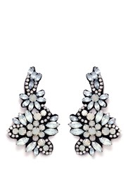 J.Crew Fabric Backed Crystal Cluster Earrings Metallic