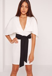 Missguided Cape Kimono Belt Bodycon Dress White White