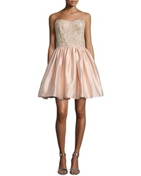 Aidan Mattox Embellished Bodice Party Dress Blush