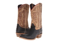 Old West Boots 60001 Black Ostrich Print Tan Road Cowboy Boots