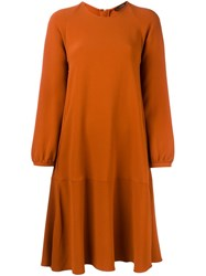Odeeh Long Sleeve A Line Dress Yellow Orange
