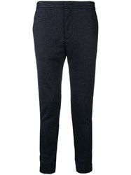 Emporio Armani Pinstripe Tapered Trousers Blue