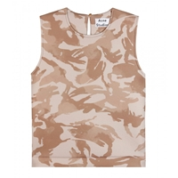 Acne Studios Vavay Camo Sleeveless Top Camo Print Beige Brown