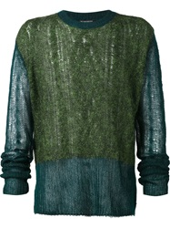 Ann Demeulemeester Colour Block Open Knit Sweater Blue