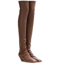 Rick Owens Leather Over The Knee Boots Brown