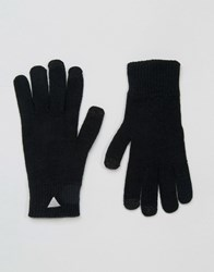 Asos Touchscreen Gloves With Triangle Logo Black