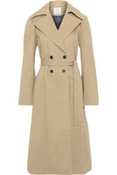 Rosie Assoulin Woman Cotton Blend Gabardine And Pleated Checked Tweed Trench Coat Sand