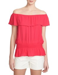 1.State Ruffled Strapless Top Pink