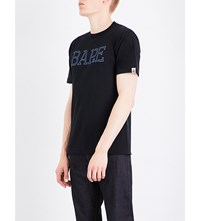 A Bathing Ape Metallic Print Cotton Jersey T Shirt Black