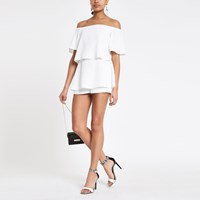 River Island White Bardot Tiered Frill Playsuit