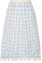 Draper James Lakeville Lace And Gingham Cotton Blend Skirt White