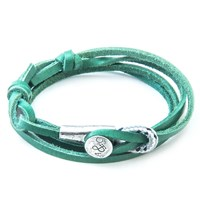 Anchor And Crew Dundee Leather Silver Braceletgreen