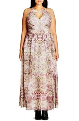 City Chic Plus Size Women's 'Romantic' Print Keyhole Maxi Dress