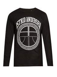 Astrid Andersen Logo Print Lightweight Cotton Sweatshirt Black