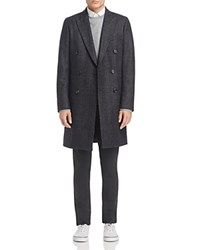 Paul Smith Ps Double Breasted Plaid Overcoat Gray Plaid