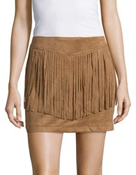 Bb Dakota Fringe Trimmed Faux Suede Mini Skirt Camel