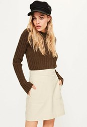 Missguided Nude Textured Cotton A Line Skirt