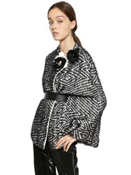 Lanvin Tweed Effect Silk Blend Knit Cape And Belt