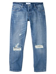 Mango Cropped Japan Jeans Open Blue
