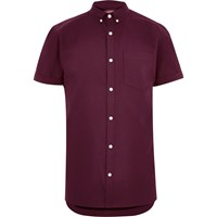 River Island Mens Red Short Sleeve Oxford Shirt