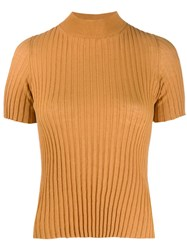 Nanushka Turtleneck Ribbed Knit Top Orange
