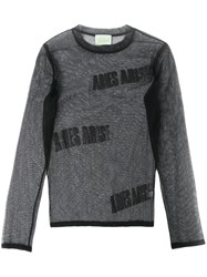 Aries Logo Tulle Long Sleeve Top Black