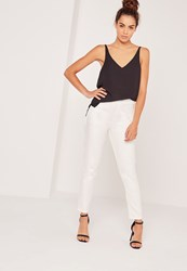 Missguided Snake Textured Cigarette Trousers White White