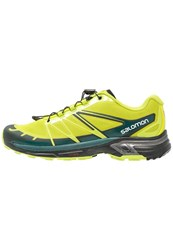 Salomon Wings Pro 2 Trail Running Shoes Lime Punch Black Deep Teal Light Green
