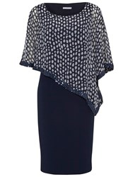 Gina Bacconi Dress With Printed Chiffon Cape Spring Navy