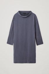 Cos Stand Up Collar Dress Blue