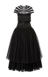 Naeem Khan Tea Length Cocktail Dress Black