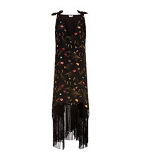 Fendi Flower Print Maxi Dress Female Black
