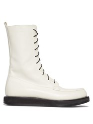 The Row Patty Lace Up Leather Boots White