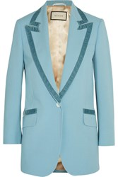 Gucci Velvet Trimmed Wool Blazer Light Blue