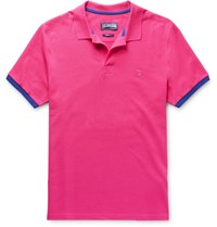 Vilebrequin Palatin Contrast Tipped Cotton Pique Polo Shirt Fuchsia