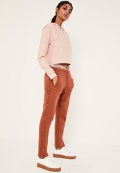 Missguided Dark Pink Popper Side Stripe Waist Jogger Co Ord Clay