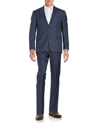 Michael Kors Muted Checked Wool Suit Set Blue