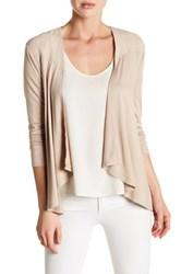 Cable And Gauge Draped Front Cardigan Beige