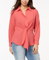 Inc International Concepts I.N.C. Plus Size Tie Front Tunic Shirt Polished Coral