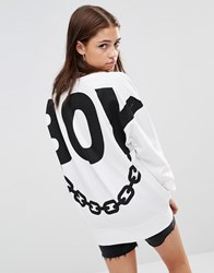Boy London Chain Back Print Sweatshirt White