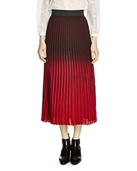 Maje Jonael Pleated Midi Skirt Burgundy
