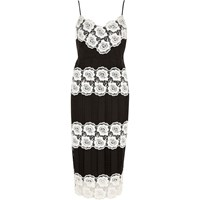 River Island Womens Black And White Lace Bodycon Dress