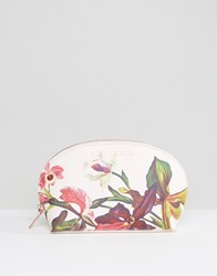 Ted Baker Floral Print Make Up Bag In White Nude Pink