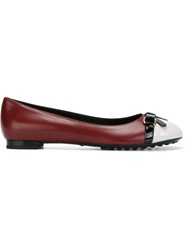 Tod's Bow Detail Contrasting Toe Cap Ballerinas Red