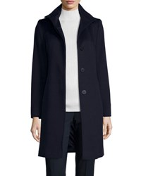 Fleurette Funnel Neck Wool Button Front Coat Midnight